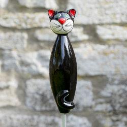 Keramik Katze groß in schwarz für den Garten