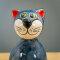 Tangoo Keramik Katze rund sitzend in blaugrau