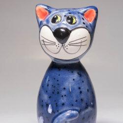 Keramik Katze blau klein für den Garten