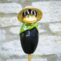 Keramik Rabe klein grünes Halstuch für den Garten