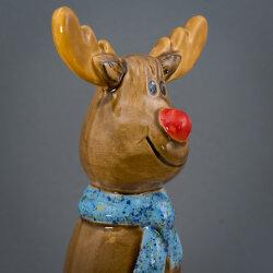 Tangoo Keramik Elch für den Garten mit hellblauem Halstuch (Rentier)