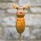 Tangoo Keramik Elch für den Garten mit orangen Halstuch (Rentier)
