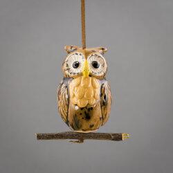 Keramik Eule hängend auf Holzzweig  in braun-gelb
