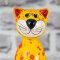 Keramik Katze gelb klein für den Garten