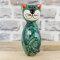 Keramik Katze türkis klein für den Garten