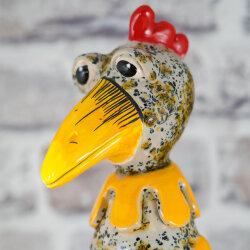 Keramik Huhn groß cremeweiß mit Effekten