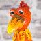 Keramik Huhn groß rot mit Effekten