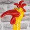 Keramik Hahnhals groß gelb mit roten Effekten