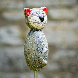 Keramik Katze klein hellgrau für den Garten / Gartenstecker