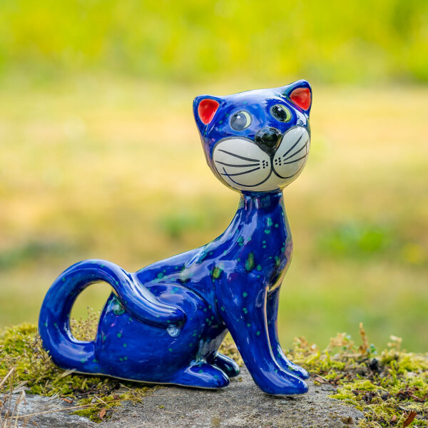 Tangoo Keramik Katze sitzend Kopf zur Seite blau mit Effekten