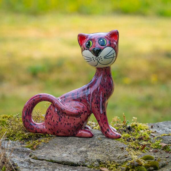 Tangoo Keramik Katze sitzend Kopf zur Seite weinrot mit Effekten