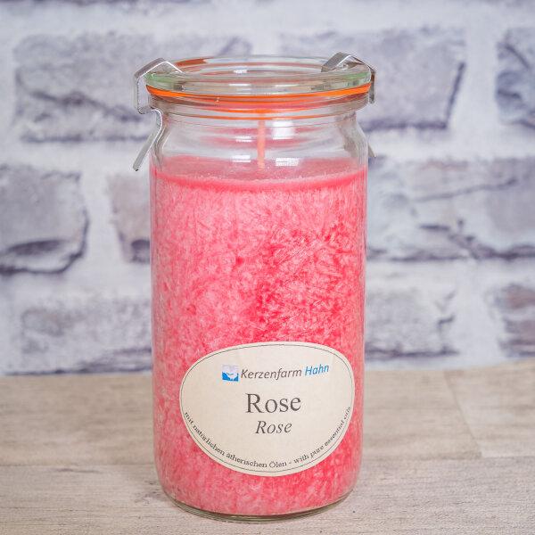 Stearinkerze Rose im XL WECK®-Glas mit ätherischem Rosen Öl