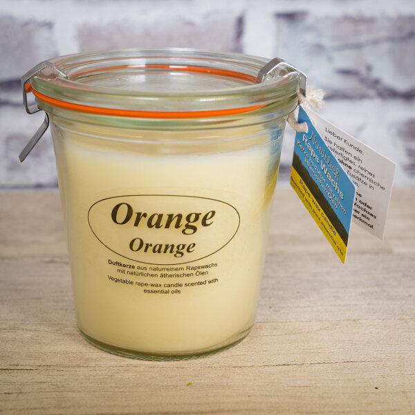 Rapswachskerze Orange im XL WECK®-Glas mit ätherischem Orangen Öl