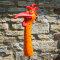 Keramik Hahnhals groß orange mit bunten Effekten