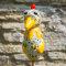 Keramik Huhn klein cremeweiß für den Garten / Gartenstecker
