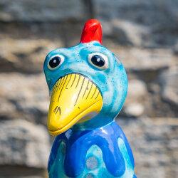 Keramik Huhn klein ozeanblau für den Garten /...