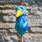 Keramik Huhn klein ozeanblau für den Garten / Gartenstecker