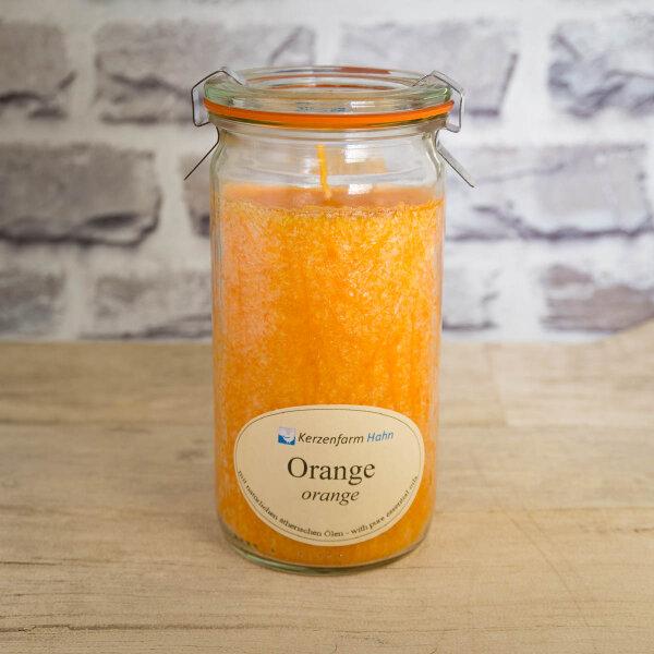 Stearinkerze Orange im XL WECK®-Glas mit ätherischem Orangenöl