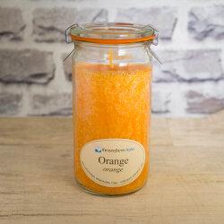 Stearinkerze Orange im XL WECK®-Glas mit...