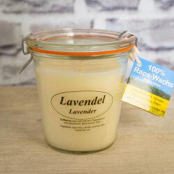 Rapswachskerze Lavendel im XL WECK®-Glas mit...