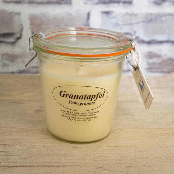 Rapswachskerze Granatapfel im XL WECK®-Glas mit ätherischem Granatapfel Öl