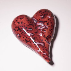 Dekoratives Keramik Herz rot / Gartenstecker