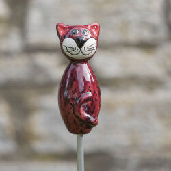 Keramik Katze weinrot klein für den Garten