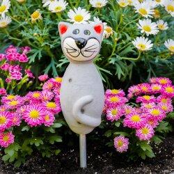 Keramik Katze für den Garten, klein in grau matt