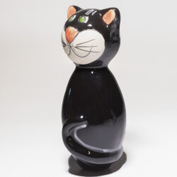 Keramik Katze für den Garten, klein in schwarz