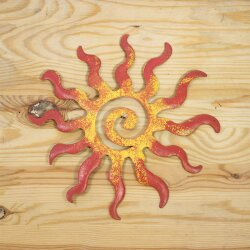 Sonne aus Metall 20 cm gelb-rot