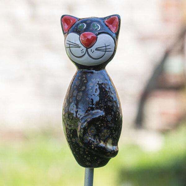 Keramik Katze klein schwarz mit goldenen Effekten für den Garten