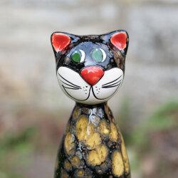 Keramik Katze groß in schwarz für den Garten...