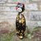 Keramik Katze groß in schwarz für den Garten mit goldenen Effekten