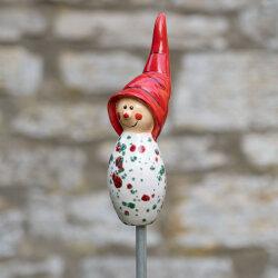Tangoo Keramik Wichtel weiß mit roten und grünen Sprenkeln Gartenstecker