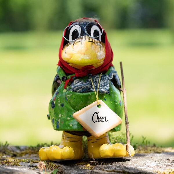 """Tangoo Keramik Rabe """"Oma"""" für den Garten mit grüner Schürze / Gartendeko / Gartenfigur / Dekofigur"""