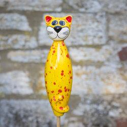 Keramik Katze groß in gelb für den Garten