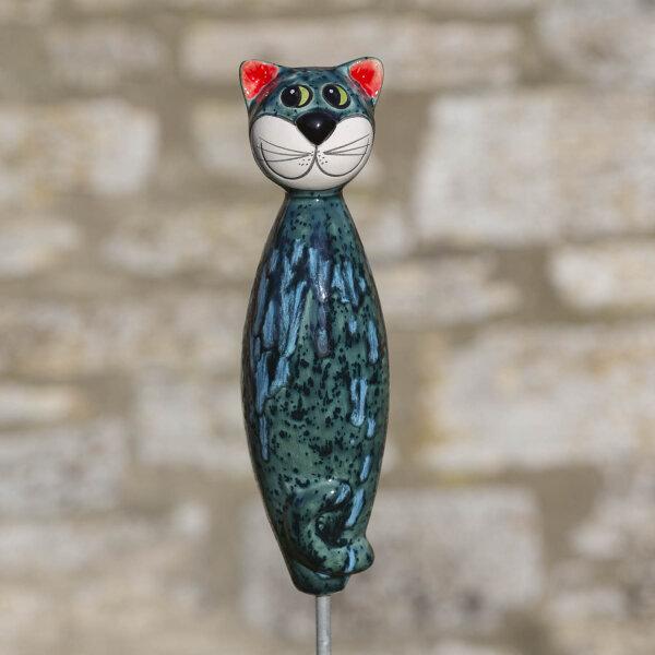 Keramik Katze groß in türkis für den Garten