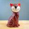Tangoo Keramik Katze sitzend in weinrot