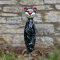 Keramik Katze groß in schwarz-weiß für den Garten, Gartenstecker