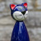 Keramik Katze groß in blau für den Garten, Gartenstecker