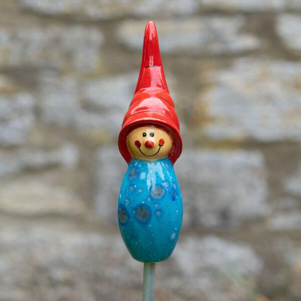 Tangoo Keramik Wichtel in hellblau / Gartenstecker