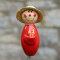 Keramik Gärtner rot mit Strohhut Gartenstecker