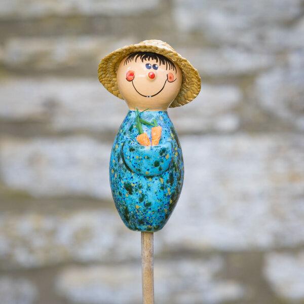 Keramik Gärtner blau mit Strohhut Gartenstecker