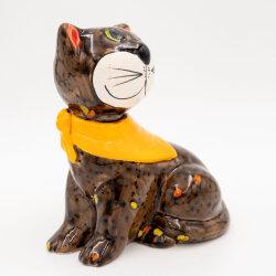 Tangoo Keramik Katze sitzend braun mit gelbem Tuch