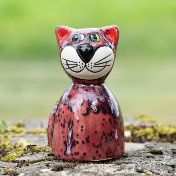 Tangoo Keramik Katze rund sitzend in weinrot