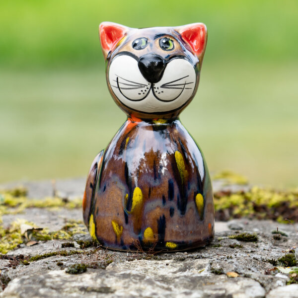 Tangoo Keramik Katze rund sitzend in braun