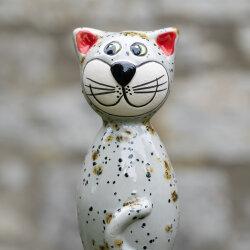 Keramik Katze hellgrau mit Sprenkeln klein für den Garten, Gartenstecker