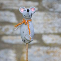 Keramik Maus für den Garten, klein in grau matt