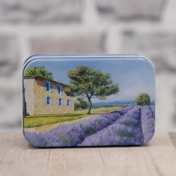Blechdose / Seifenablage / Aufbewahrungsbox Lavendel 10,2 x 7 x 4,6 cm