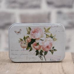 Blechdose / Seifenablage / Aufbewahrungsbox Rose 10,2 x 7...